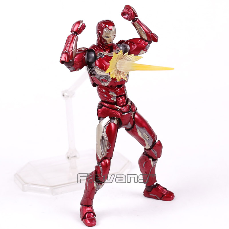SCI-FI Revoltech Series NO.004 Iron Man MARK XLV MK45 PVC Action Figure Collectible Model Toy 16cm series no 001 revoltech deadpool venom no 003 spider manno 002 004 iron man with bracket pvc action figure collectible model toy