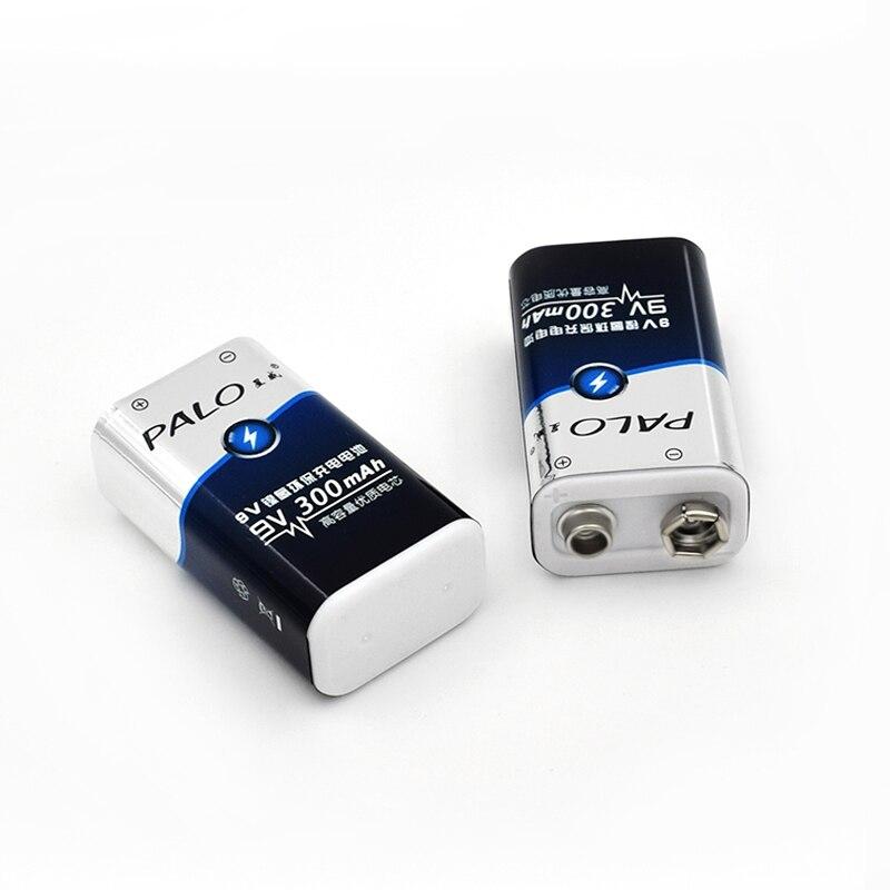 8Pcs 300 mAh PALO 9 V 6F22 9V Ni-Mh 9 Volt Super Heavy Duty Battery For Flashlight,Radio,Camera,Toys etc Rechargeable Batteries
