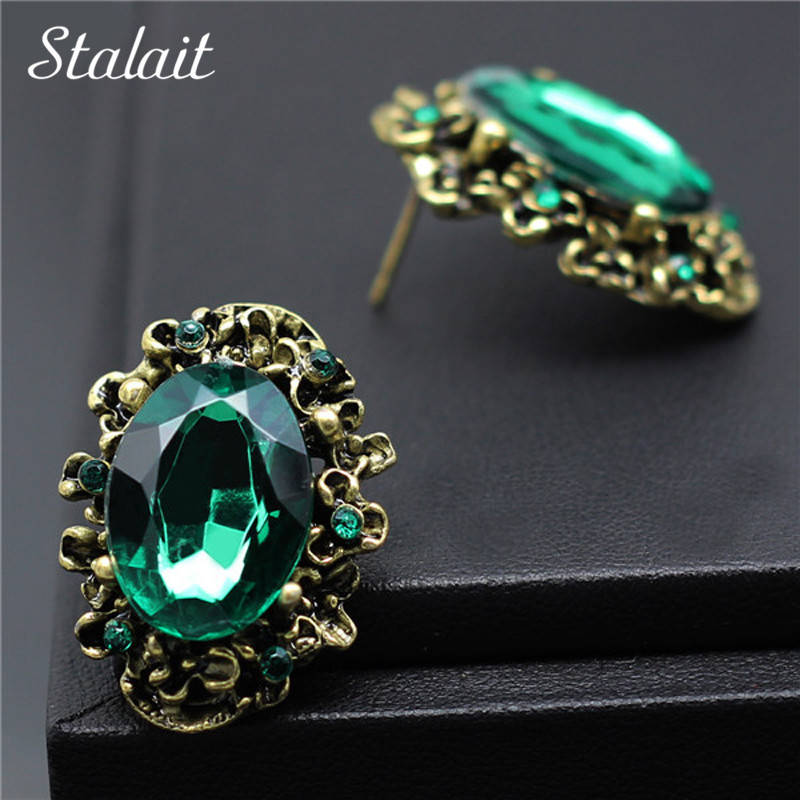 Fashion Wedding Accessories Antique Bronze Vintage Green Big Stone Crystal Rhinestone Stud Earrings For Women Jewelry