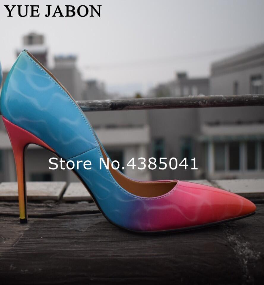 Cm Chaussures Picture Lady 3 10 Coloré Haut Jabon Haute en imprimé picture Toe 1 picture Point Arc 12 2 8 Talon Stiletto Pompe Talons Yue Femme Zapatos Mujer PwBqOUZB