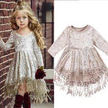 Baby Girl Dress Christmas Party Kids Girls Clothes Long Sleeve Princess Dress Velvet Tassel Kids Dresses for Girls 1 2 3 4 Years designer girls dresses with bags vintage floral baby girl vestidos velvet princess dress for party brand kids costumes 12 colors