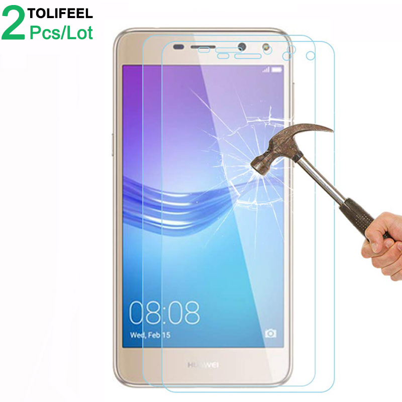 2Pcs Tempered Glass For Huawei Y5 2017 Screen Protector 9H 2.5D Phone On Protective Glass For Huawei Y6 2017 Glass