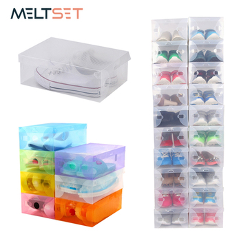 1pc Transparent Plastic Storage Box Shoes Organizer Stackable Shoe Boxes Container for Wardrobe Closet Cabinet Storage Container box