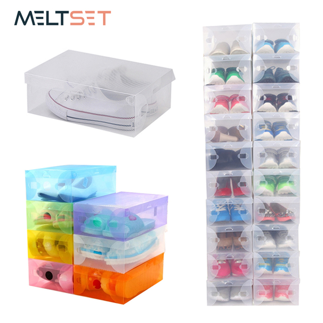 1pc Transpa Plastic Storage Box Shoes Organizer Stackable Shoe Bo Container For Wardrobe Closet Cabinet