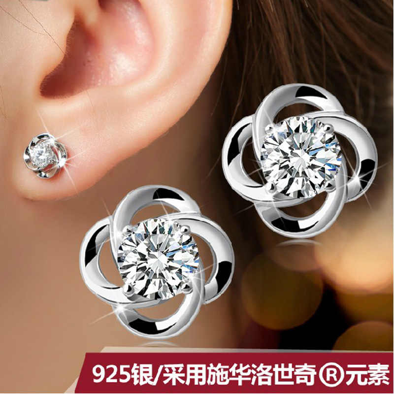 925 sterling silver Stud Earrings jewelry Europe version Fashion Clover Rotation earrings female models