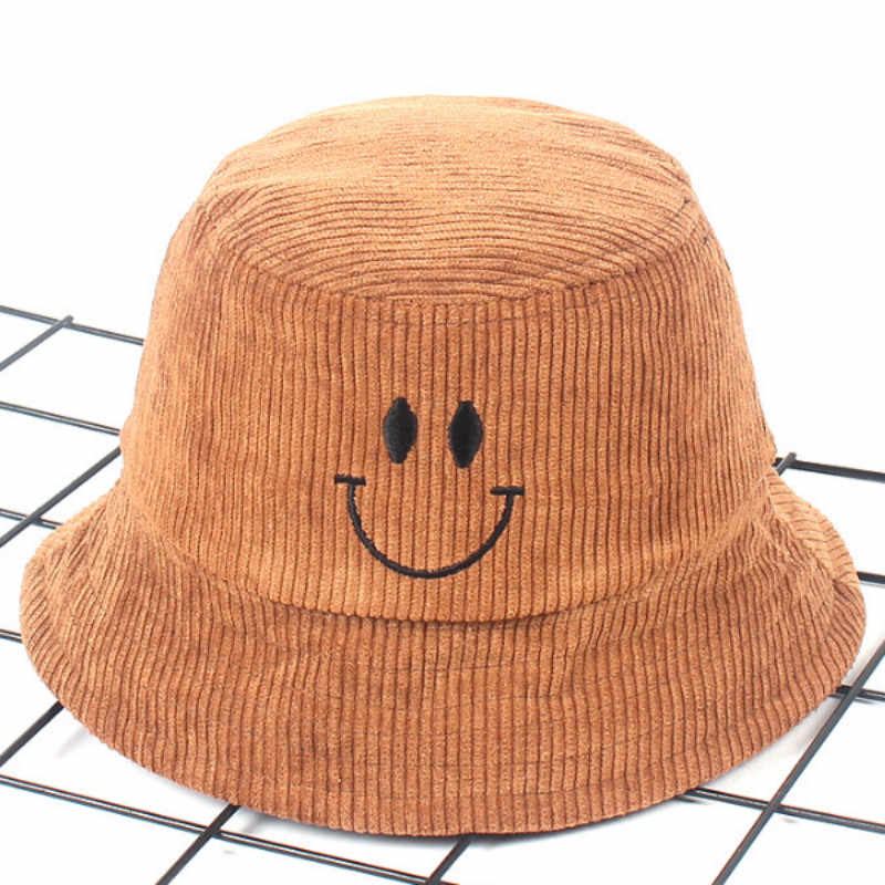 ... Children Cartoon Smile Face Winter Bucket Hat Outdoor Windproof Spring  Autumn Kids Corduroy Panama Girl Boy ... 841545c2a249