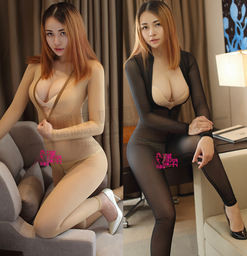 Buy New Sexy Open Bust Transparent Mush Bodysuit Body stockings See Party Wear Open Crotch Club Wear Sexy Lingerie FX1050