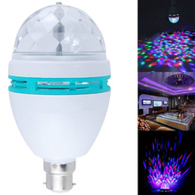 B22 3W RGB Crystal Ball Rotating LED Stage Light Bulbs Disco Lamp Newest Multi-Color Colorful Colors Changing Bayonet