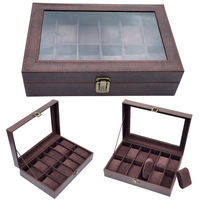 12 Grids Handmade Watch Box Clock Box Time Box Watch Case for Watch Holding