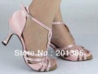 Cheap Ladies Pink Satin Crystal Ballroom Latin Samba Salsa Ceroc Tango Jive Line Dance Shoes Size