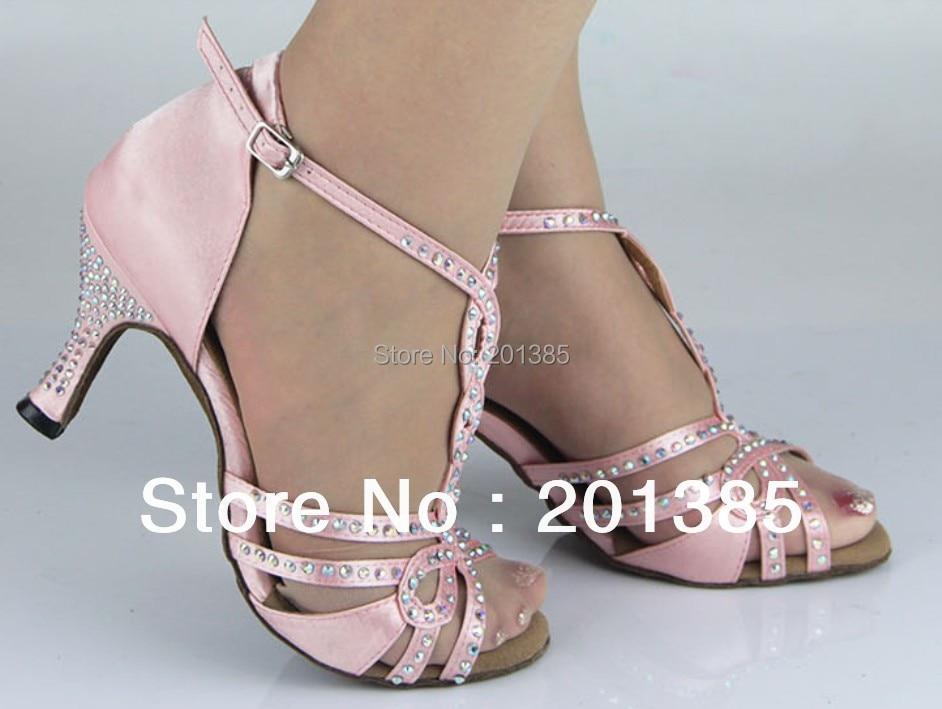 Groothandel Dames Roze Satijn Kristallen Balzaal Latin Samba Salsa Ceroc Tango Jive Lijn Dansschoenen Maat 34,35,36,37,38,39,40,41