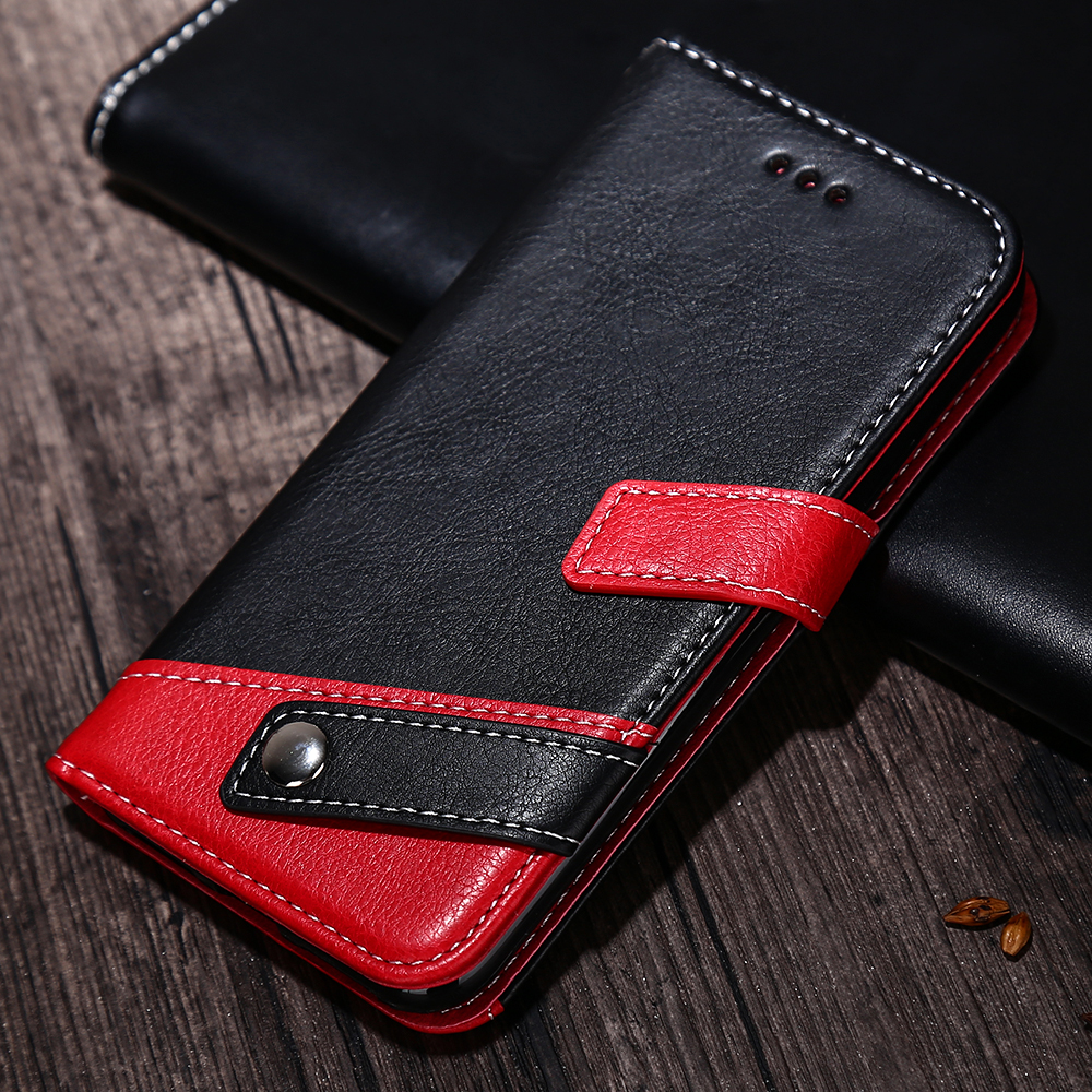 HAISSKY Leather Case For iPhone 5 5s SE 6 6s Plus 7 Plus iPhone X Case Wallet Card Flip Covers Hit Color Buckle Phone Fundas
