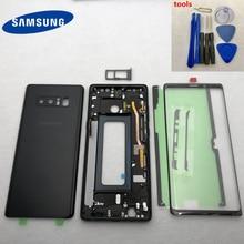 Note8 capa traseira, caixa de proteção completa + lente de vidro da tela frontal + moldura intermediária para samsung galaxy note 8 n950 n950f n9500 SM N950F