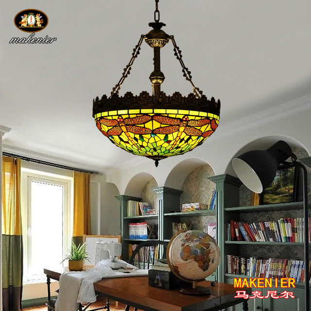 Makenier Vintage Tiffany Style Stained Glass Green Dragonfly Inverted  Ceiling Pendant Lamp, 20 Inches Lampshade
