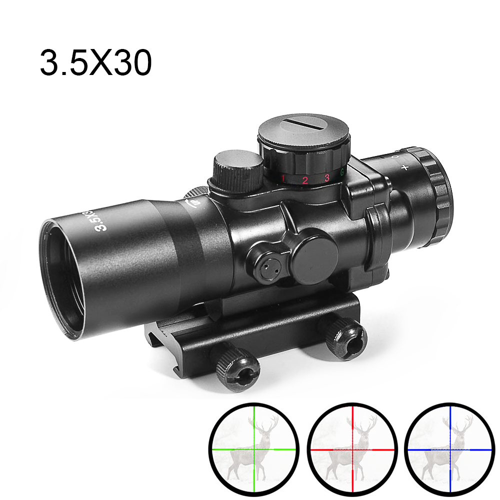 Prism Scope 3.5X30 Red Dot Sight 3 Illumination Reticles Hunting Scopes With 20mm Rail Scopes For Airsoft Outdoor Shooting Rifle