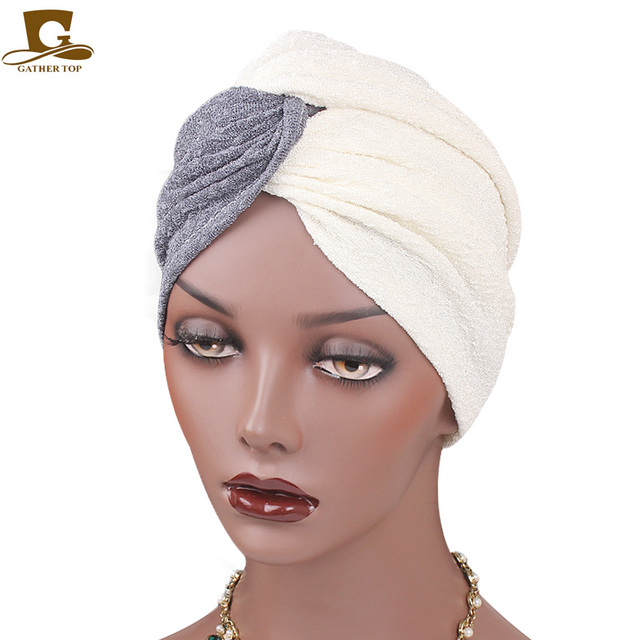 2dfbe65229d New double color Twist Pleated Hair Wrap Stretch Turban chemo cap Cancer Hat  Hairband Head band