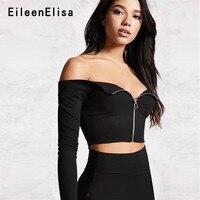 Eileen Elisa Front Zipper Blouse New Style 2018 Sexy Shirt Women V Neck Off Shoulder Crop Top Blouses Female