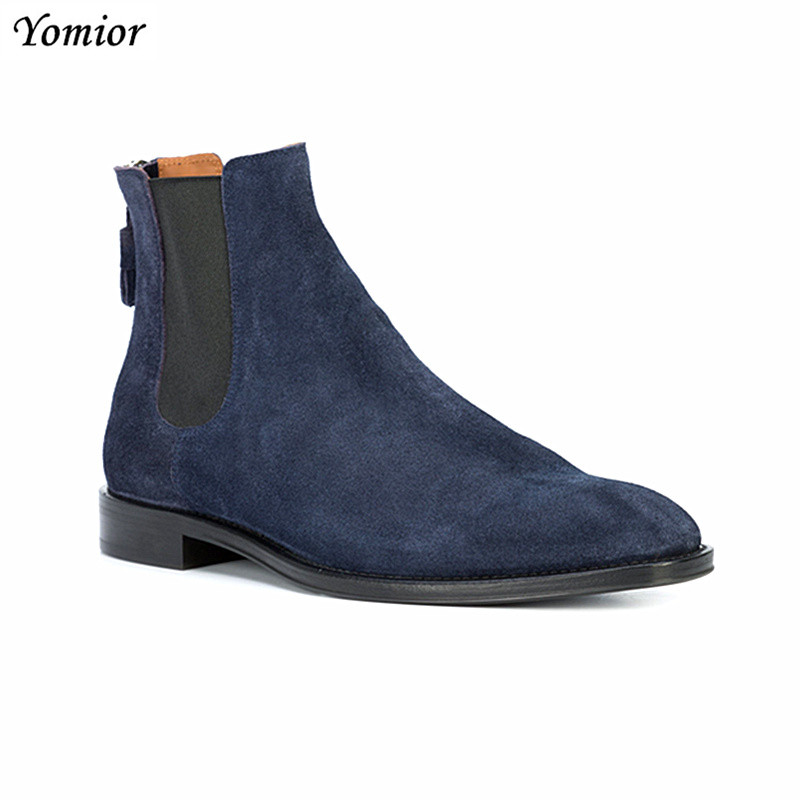 Handmade Genuine Leather Top Quality Pointed Toe Vintage Casual Dress Shoes Cowhide Men Business Kanye West Ankle Chelsea Boots