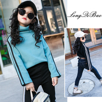 Children's half high collar bottoming shirt winter 2018 new Korean girls solid color long sleeved t shirts wild sleeves striped