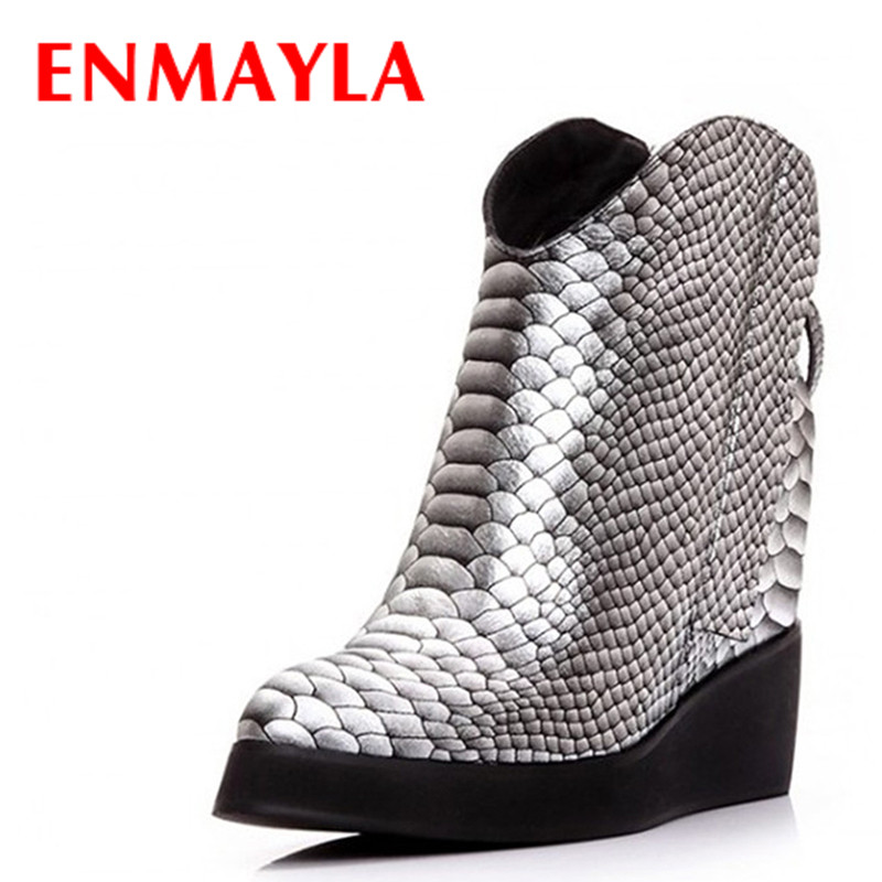 ENMAYLA Winter Platform Ankle Boots for Women Wedges Heels Short Boots Zipper Pointed Toe Shoes Woman Snake Boots Size 39 enmayla ankle boots for women low heels autumn and winter boots shoes woman large size 34 43 round toe motorcycle boots