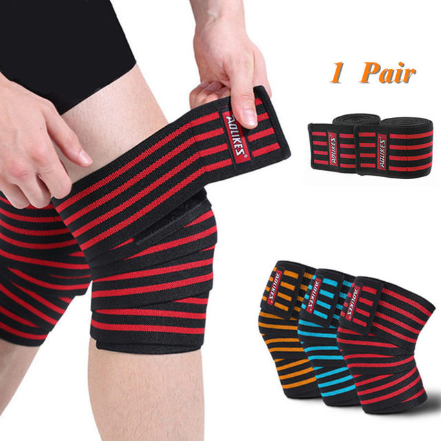 011129f566 1 Pair Powerlifting Knee Wraps Adjustable Compression Sleeves for Crossfit  Weightlifting Training Gym Fitness Workout Strength
