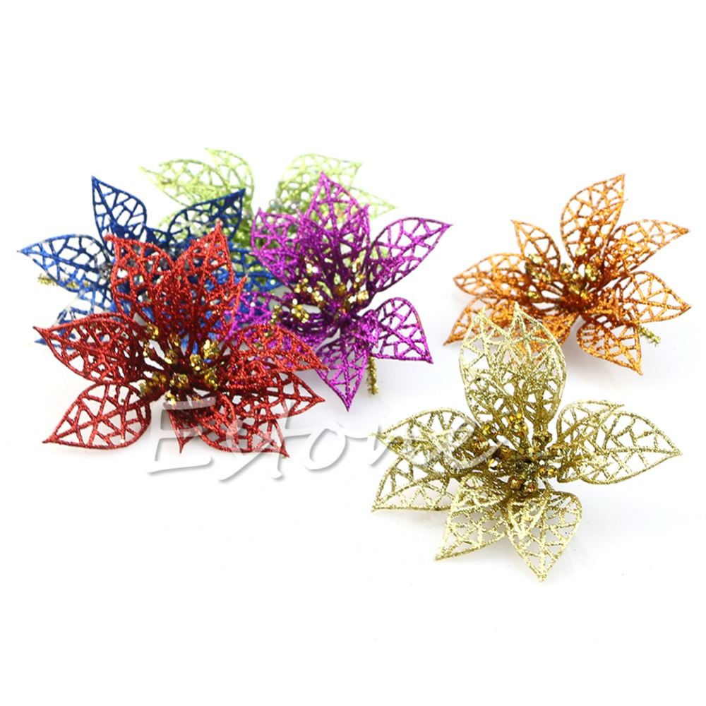 Fibre optic christmas flowers and xmas flowers - Zf85 6 Color Christmas Flower Xmas Tree Decorations Glitter Hollow Wedding Party China