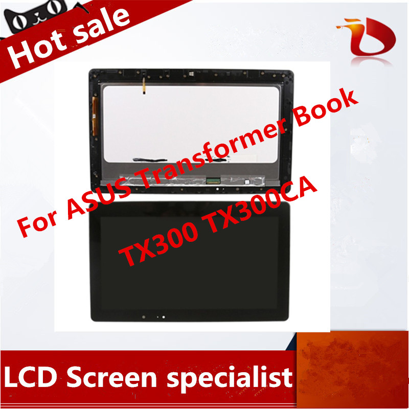 For ASUS Transformer Book TX300 TX300CA Black Full LCD Display Monitor with Digitizer Touch Screen Glass Assembly With Frame black full lcd display touch screen digitizer replacement for asus transformer book t100h free shipping