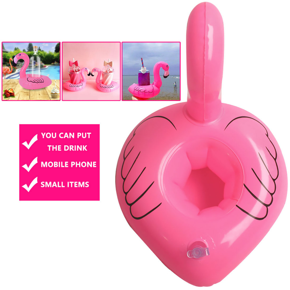 Lovely Inflatable Flamingo Drink Can Cell Phone Holder Floating Swimming Stand Pool Bathing Beach Event Party Kids Toy Bath Toy