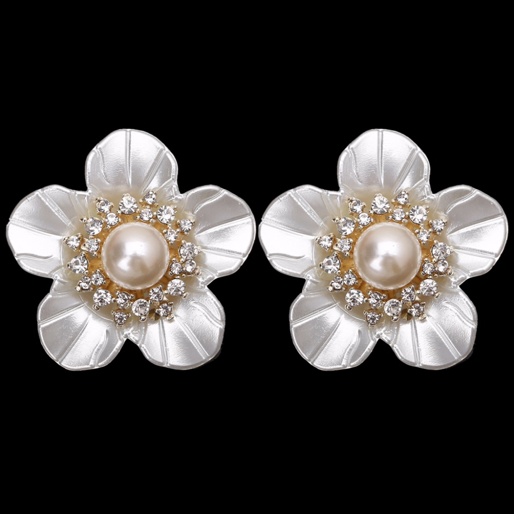 EYKOSI 2Pcs Flower Faux Pearl Rhinestone Embellishments Shoe Clips Cloth Patch Applique 8QQ200538 eykosi fashion gold tone rhinestone shoe clips flower glass wedding diamante sparkle