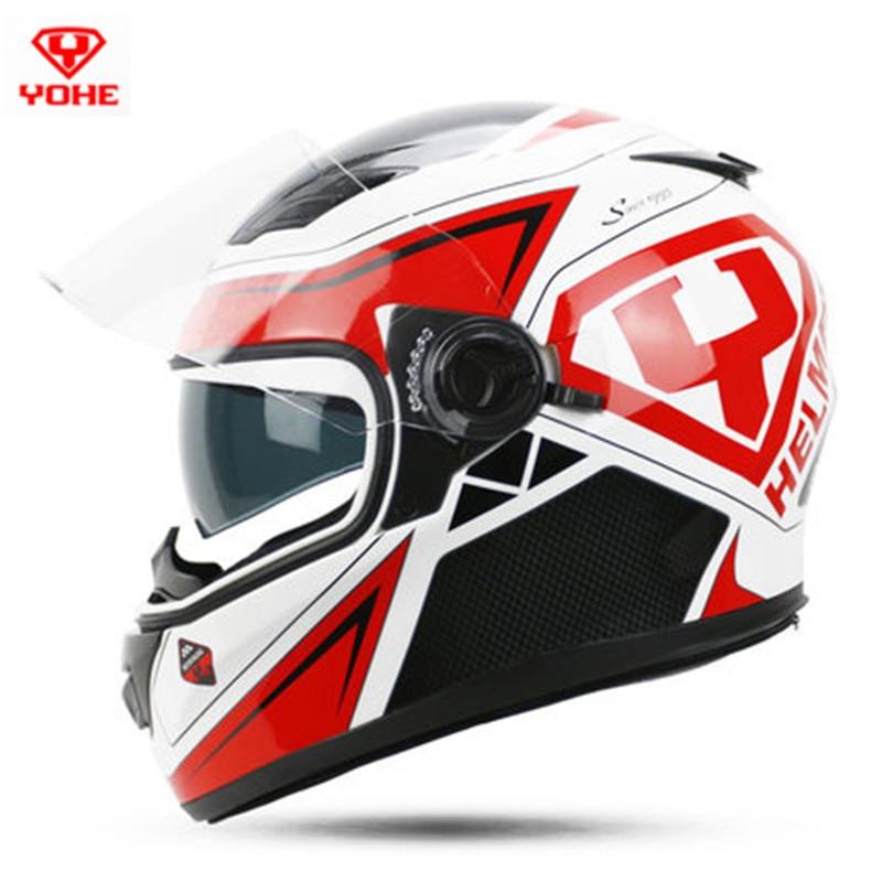 YOHE 970 dual lens full face motorcycle helmet removable inner lining racing Moto helmets S M L XL XXL
