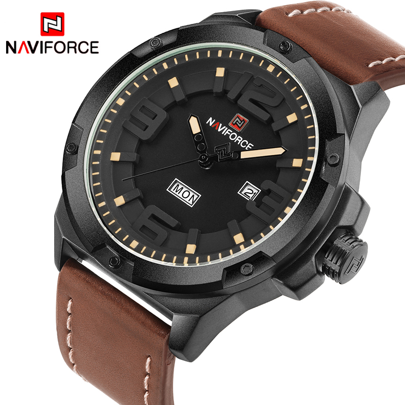 NAVIORCE New Brand Fashion Men Sport Watches Men's Quartz Date Week Clock Man Leather Strap Army Military Waterproof Wrist Watch splendid brand new boys girls students time clock electronic digital lcd wrist sport watch