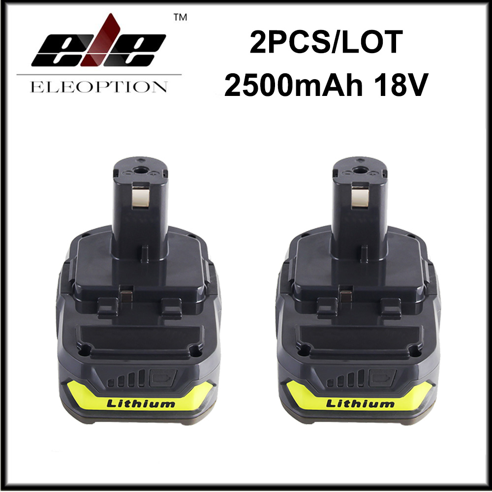 2x 18V 2500mAh Li-Ion Rechargeable Battery For Ryobi RB18L25 One Plus for power tool P103 P104 P105 P108 1 pc new power tool battery for ptc 18va 2500mah pc18b pc18b pcmvc pcxmvc pc1800d pc1801d 2611 2755 p20