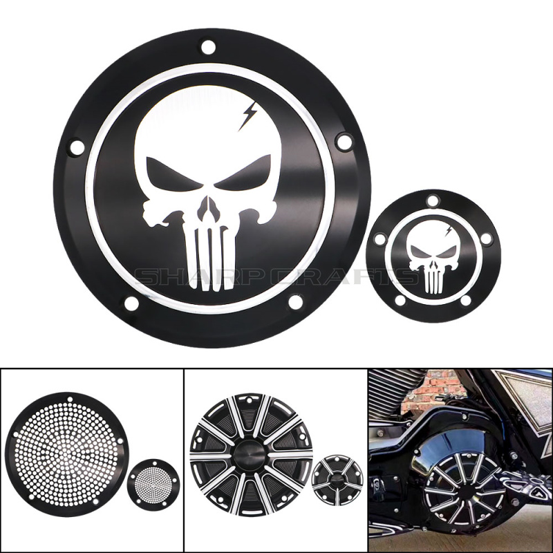 Motorcycle Skull Derby Timer Clutch Timing Cover For Harley Touring Street Glide Road King Dyna FXDC Softail Heritage Fat Boy