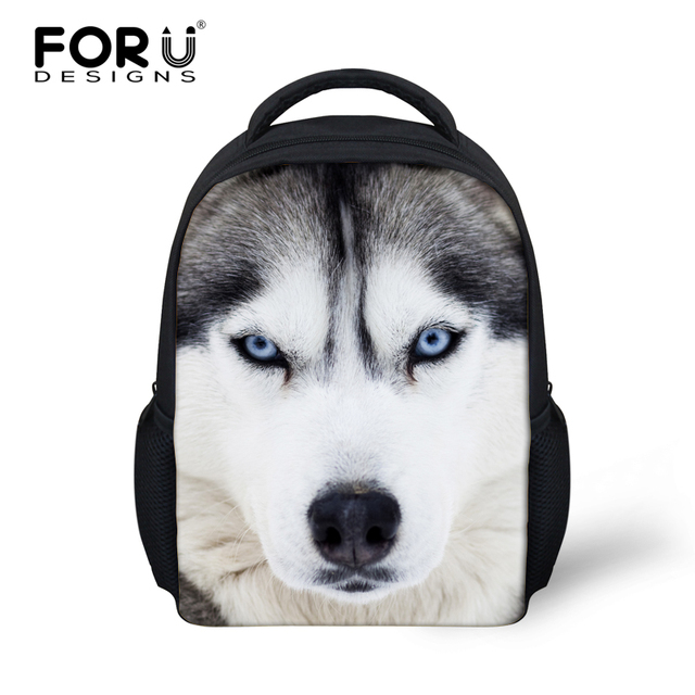 557ec1e686b1 FORUDESIGNS 3D Huskies Animals Child School Bags Small Bookbag For Boys  Mochila Infantil Schoolbag Kindergarten Kids Backpacks