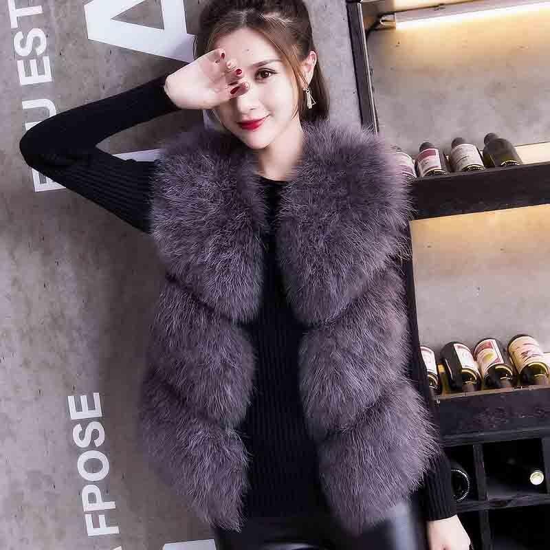 Серая модная куртка из натурального меха страуса tsr431 - Цвет: Darkgrey