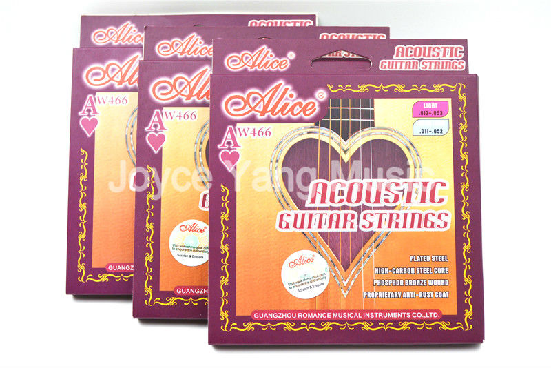 3 Sets Alice AW466 Light Acoustic Guitar Strings Plated High-Carbon Steel&Phosphor Bronze Wound Strings Free Shipping Wholesales savarez 510 cantiga series alliance cantiga normal high tension classical guitar strings full set 510arj
