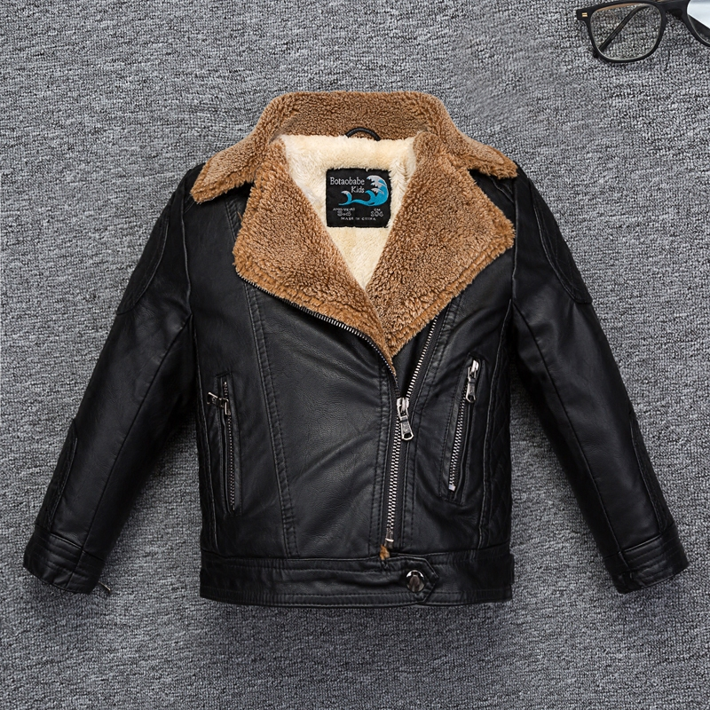 Fleece Thicken Boys Leather Jacket with Fur Collar for Autumn Winter Kids Coat Bomber toddler girl winter clothes striped trim fluffy panel bomber jacket