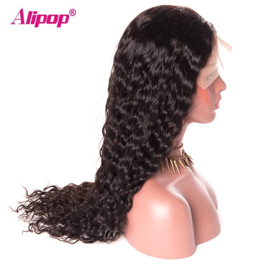 180 Density Malaysian Water Wave Wigs Remy 13x4 Lace Front Human Hair Wigs With Baby Hair