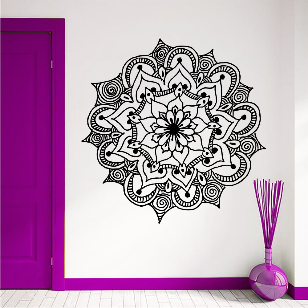 Hot selling bohemian mandala flowei wall decals houseware for Off the wall tattoo