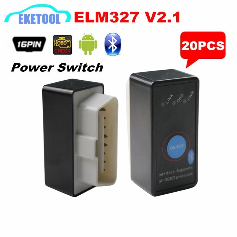 Цена за Бесплатная Доставка Автомобиля Тестер Диагностический Инструмент ELM327 Bluetooth V2.1 Выключатель Питания ON/OFF ELM 327 Смартфон Android Крутящий Момент 20 шт./лот