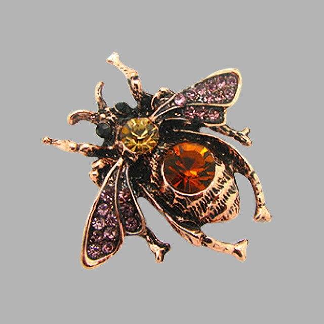 Завод Прямых Мужчины Классический насекомых Пчелы Брошь старинные Горный Хрусталь Брошь Фиолетовый Пчел Броши Хиджаб Булавки Для Женщин X1212