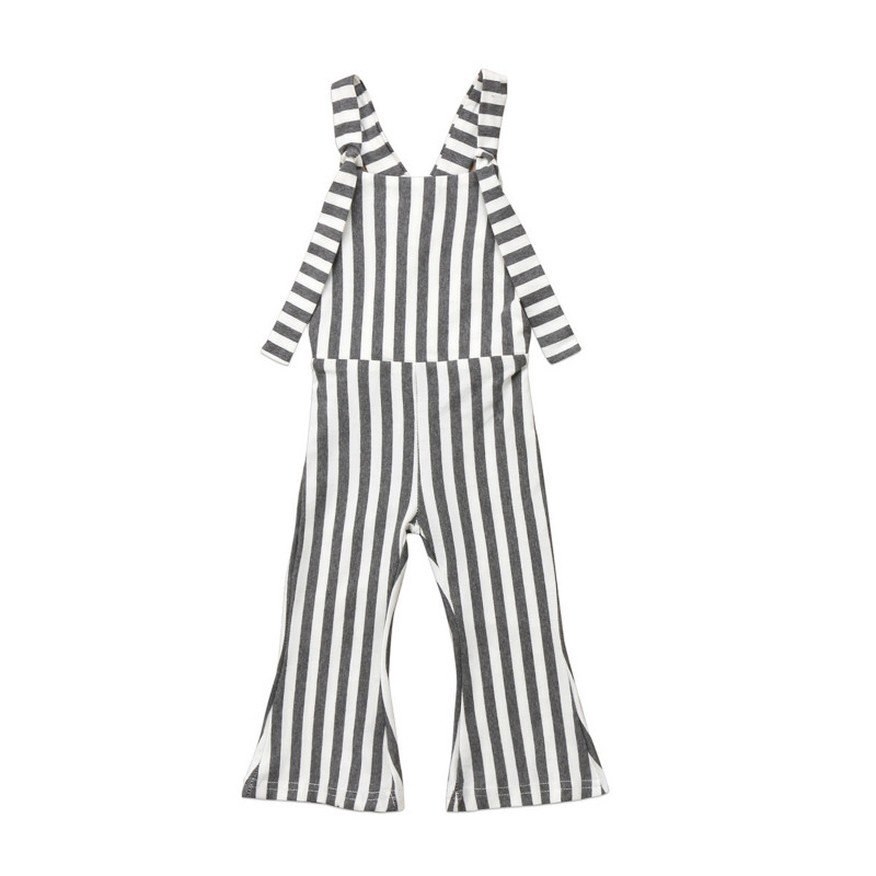 Fashion Kids Baby Girl Cotton Strapless Striped Brace Long Trousers One-Piece Overalls Romper Bell Bottoms Romper Outfit Sunsuit 2pcs children outfit clothes kids baby girl off shoulder cotton ruffled sleeve tops striped t shirt blue denim jeans sunsuit set