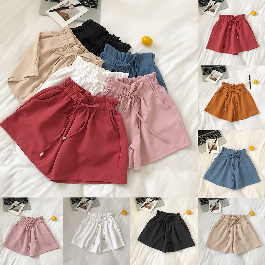 2019 NEW Women's Summer Solid Color   Shorts   Chiffon Casual High Waist   Shorts   Beach Stretch high quality W508