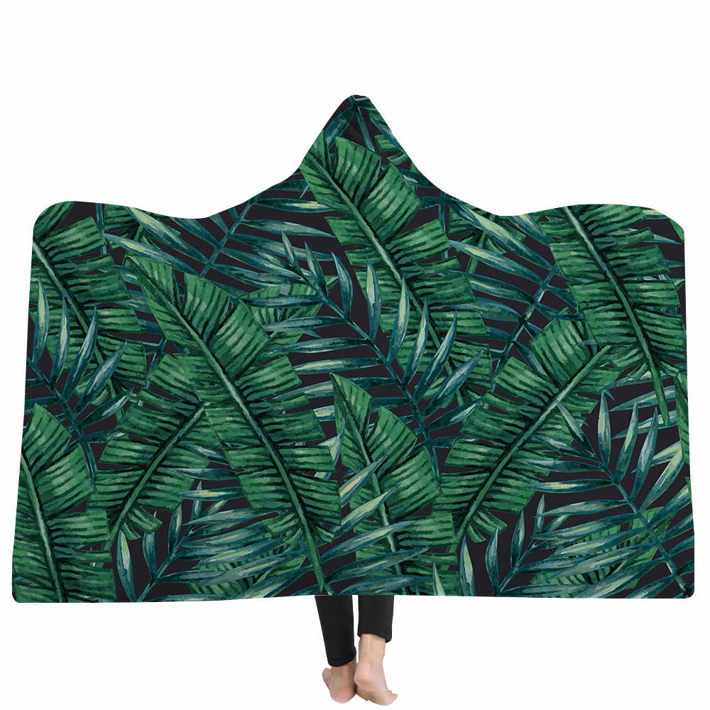 Miracille Tropical Grüne Pflanze Blätter Mit Kapuze Decke für Erwachsene Kid Warm Tragbare Fleece Frau Werfen Decken Mikrofaser Mantel