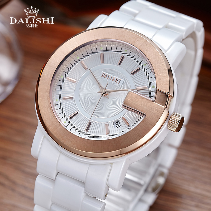 DALISHI Famous Brand Women Watches Quartz Rose Gold White Ceramic Watch Fashion Big Dial Date Ladies Clock Relogio Feminino 2017 new brand fashion quartz watch famous women black and white gril clock leather strap watches relogio feminino lz710