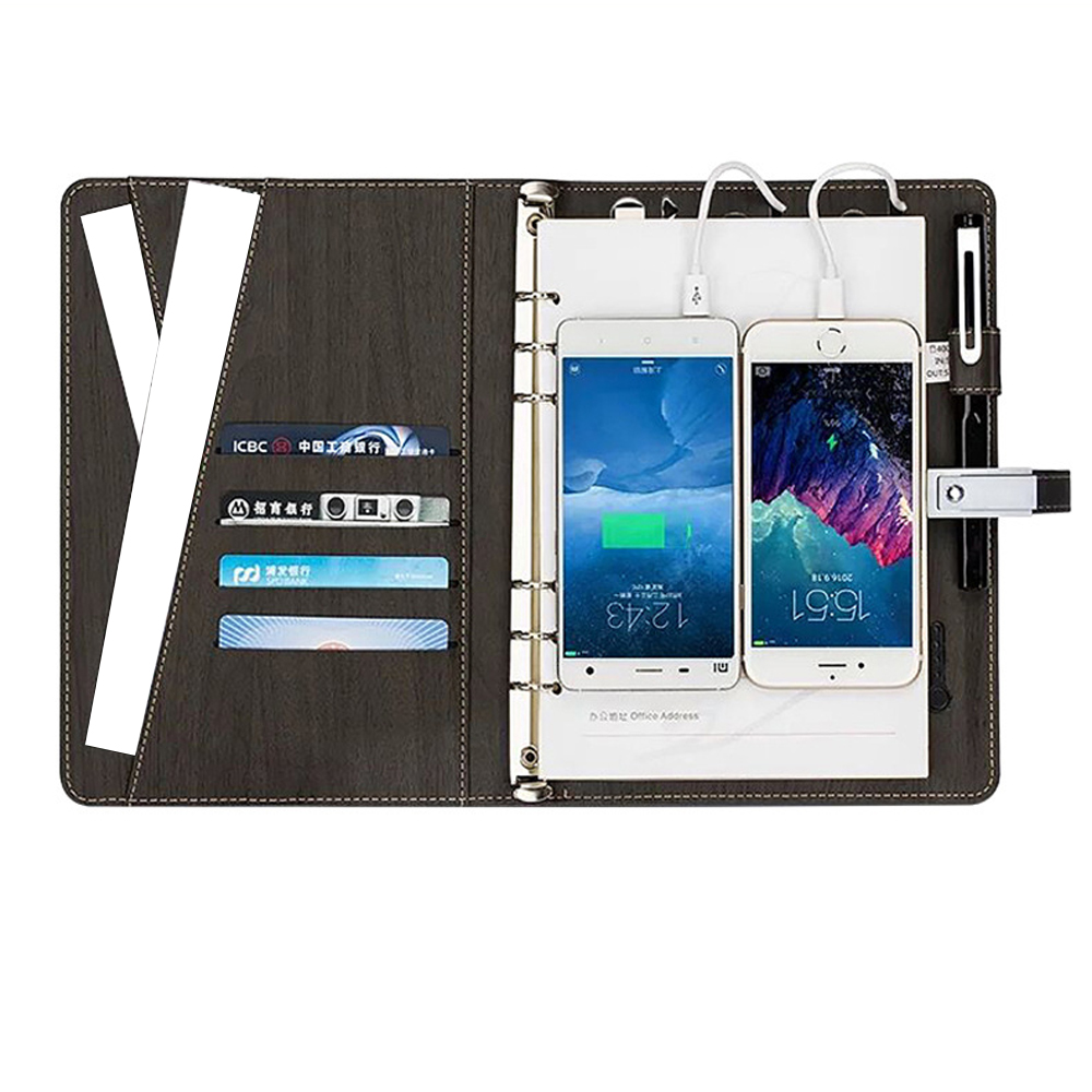 Portable portable multifonction 8000 mAh puissance Mobile Qi chargeur sans fil cahier reliure spirale journal 16 GB