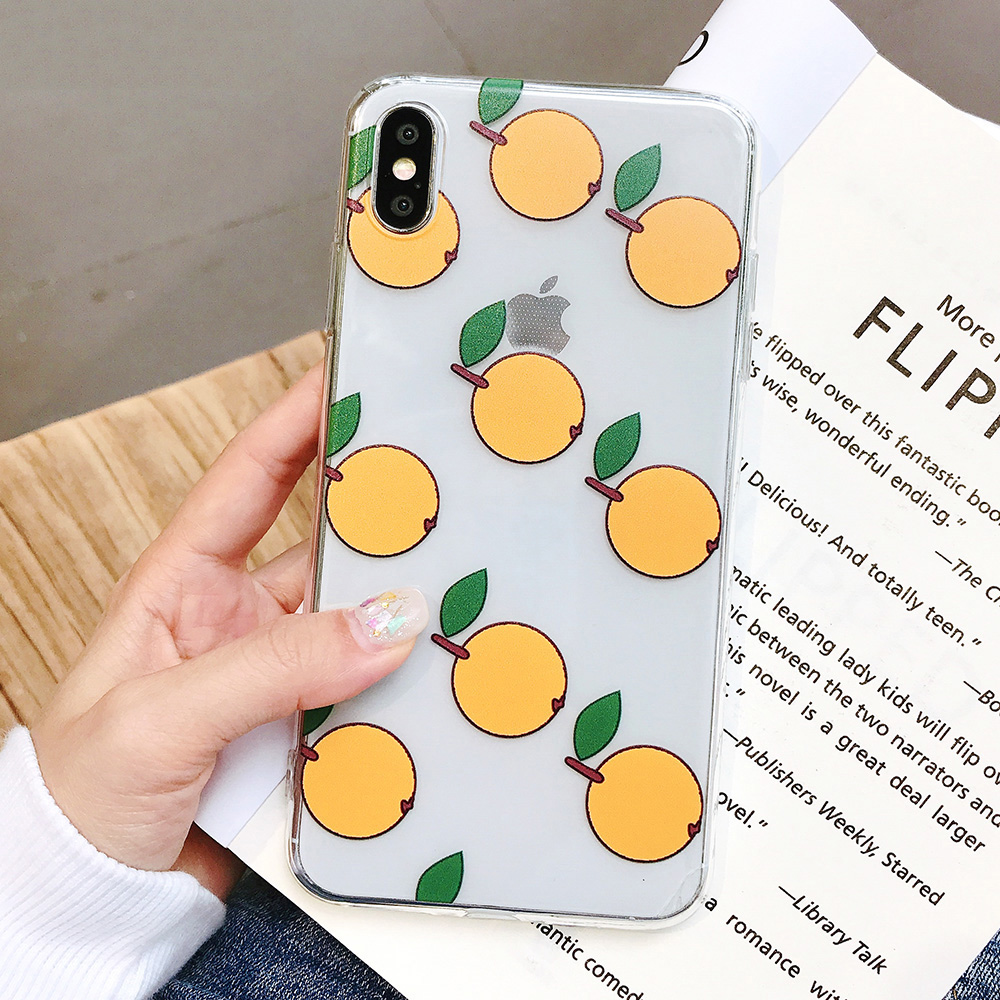 KIPX1084A_1_JONSNOW Phone Case For iPhone XS Max XR XS 7 Plus 8 6 6S 6 Plus Fruit Oranges Pattern Clear Soft Silicone Back Cover Capa Fundas