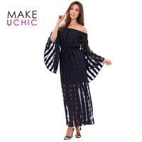 MAKEUCHIC 2017 Vrouwen Mode Zomer Sexy Sheer Off Shoulder Jurk Zwart Lange Flare Mouwen Split Maxi Jurk Casual Jurk
