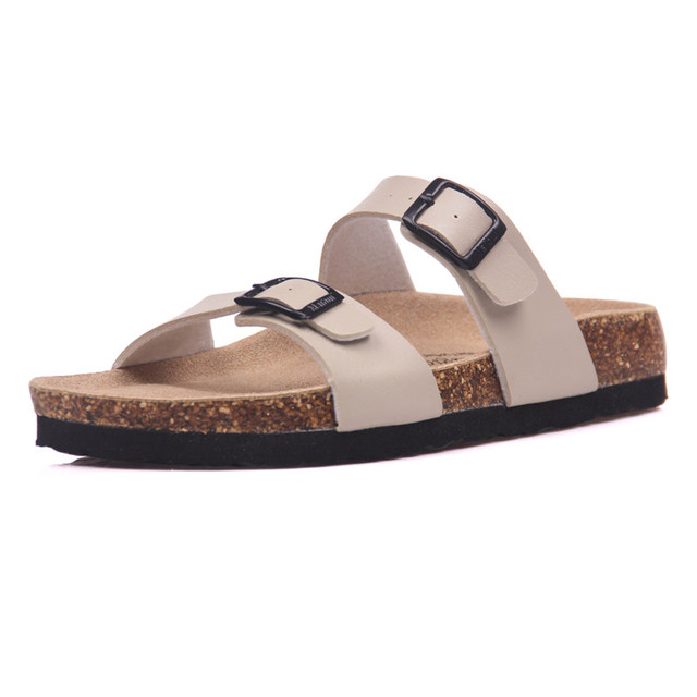 COSMAGIC 2018 New Summer Cork Slippers Shoe Women Casual Mixed Color PU  Flip Flops Holiday Beach Slides Flat With Plus Size 71c3db715d97