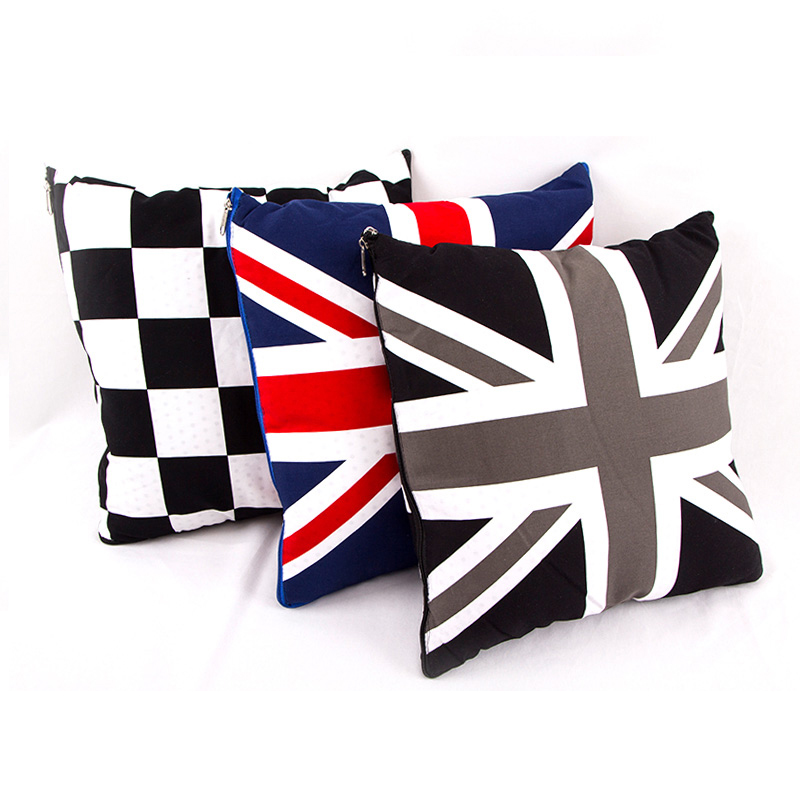 38*38cm 2 in 1 Union Jack Polyester Car Cushion Blanket Pillows Air conditioning Quilt For Mini Cooper Countryman Car Styling